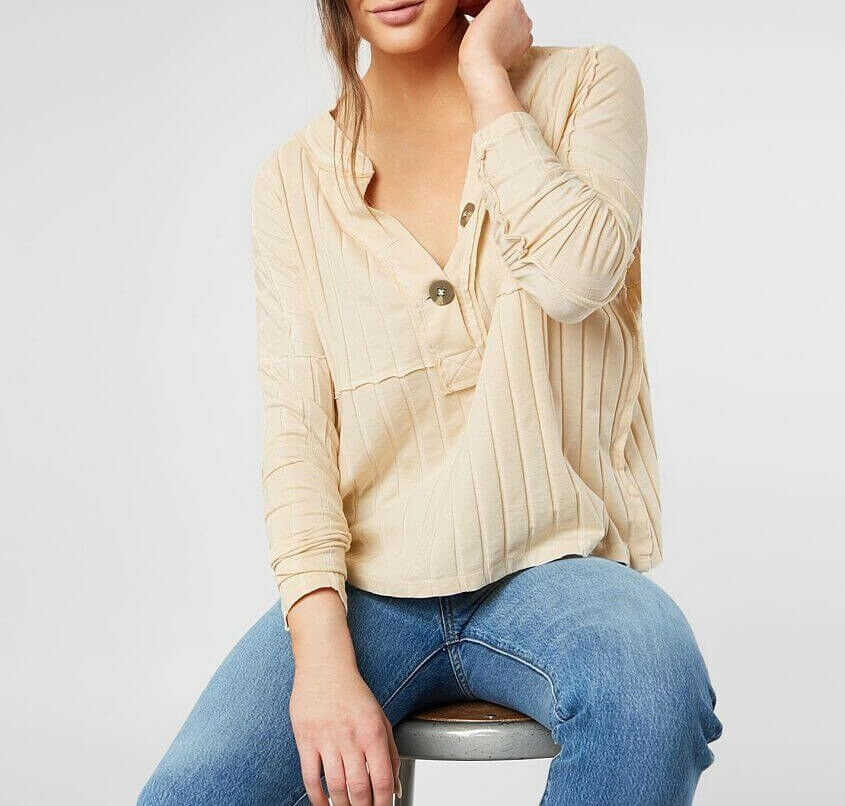 Free People Womens In The Mix OB902813 Top Relaxed Tea Beige Size XS