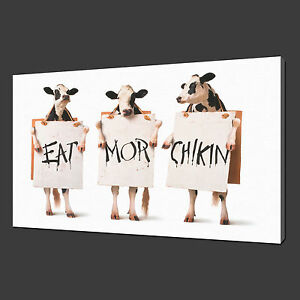 FUNKY COW CANVAS WALL ART PICTURE PRINT VARIETY OF SIZES FREE UK P/&P