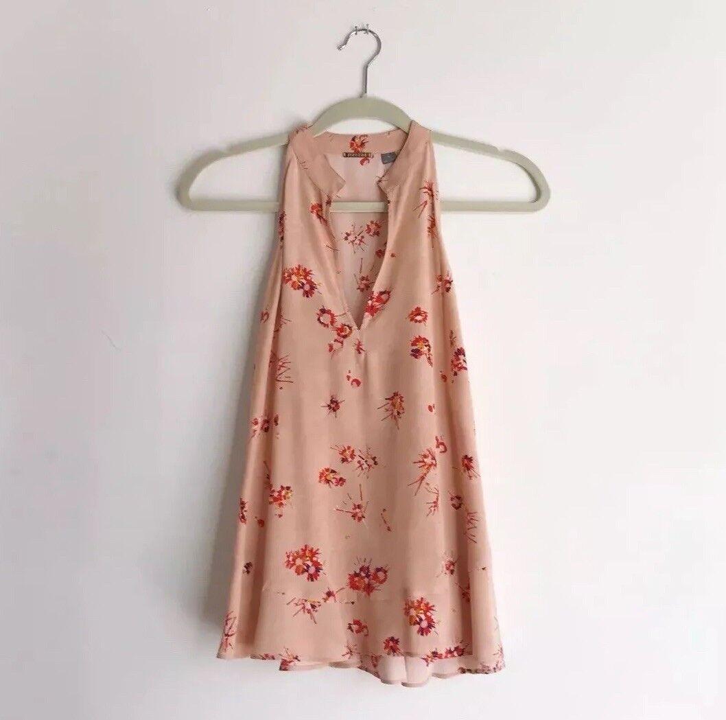 Foundrae Rosa Nude Silk Floral Sleeveless Top Größe 6