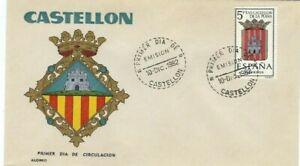 FDC-Erste-Dia-Spanien-1962-Wappen-Castellon