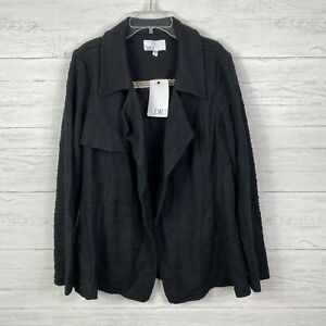 DR2 by Daniel Rainn Women's Jacket Drape Front Boucle Knit Black Size M
