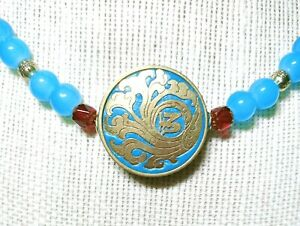 Old-Gold-Style-Aqua-Filigree-Round-Luck-Pendant-Necklace-New-EugeniaM-Designs