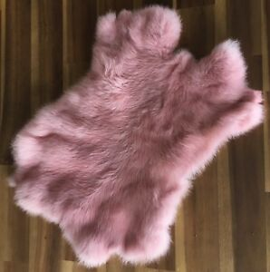 1x-PINK-Rabbit-Skin-Real-Fur-Pelt-for-animal-training-crafts-fly-tying-LARP