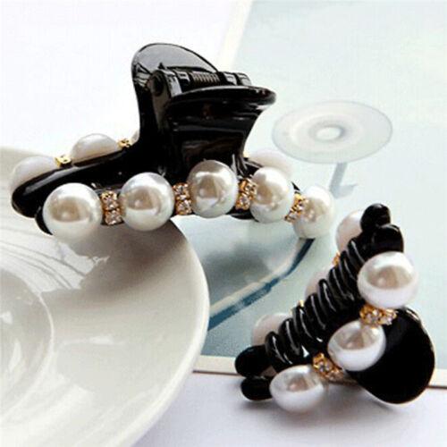 Fashion Korean Styles Pearl Black Lady Hair Clip Claw Barrette Clamps HairpinsZY