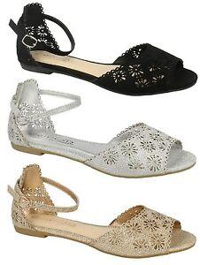 Ladies Spot On Glitter Peep Toe Buckle Sandal F0941
