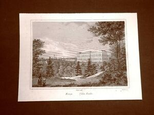 Monza-La-Villa-Reale-Incisione-su-rame-all-039-acquaforte-del-1835-Audot