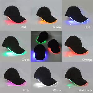 81d9cfae Details about Creative LED Light Baseball Hat New Punk Style Luminous Cap  Fiber Snapback Hats