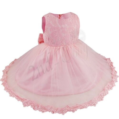 Toddler Baby Kid Girl Flower Dress Baptism Christening Birthday Party Tutu Dress