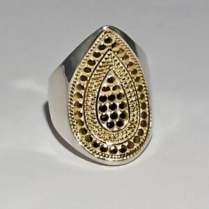 SOLD-OUT-ANNA-BECK-18-K-GOLD-PLATED-S-S-TWO-TONE-SIGNATURE-TEARDROP-RING-SIZE-7