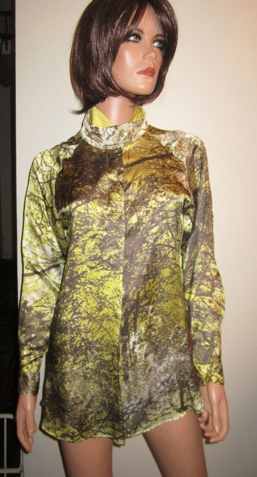 NWT GABRIELE COLANGELO Tunic S IT38 100% Silk Blouse Long Sleeves