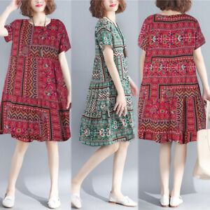 UK-Womens-Summer-Floral-Short-Sleeve-Cotton-T-Shirt-Dress-Ladies-Smock-Dresses