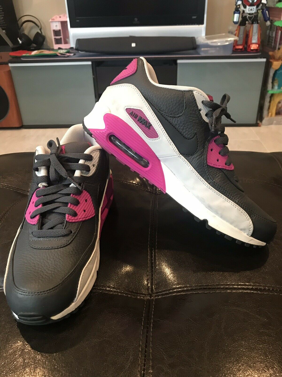 Nike Air Max 90 Leather Men Black   Purple