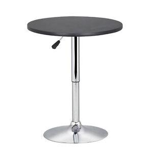 Bar-Table-Round-Black-Height-Adjustable-Swivel-Chrome-Base-Sofa-Side-Bar-Coffee
