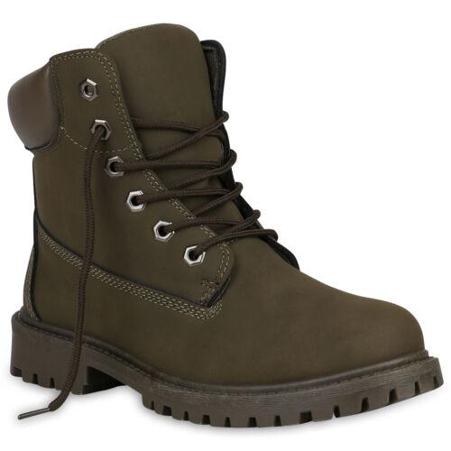 Damen Stiefeletten Outdoor Schuhe Profilsohle Worker Boots 891826 Hot