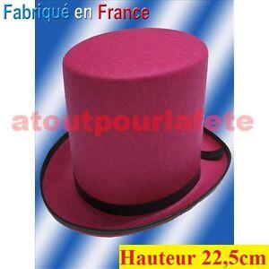CHAPEAU-Haut-de-Forme-22-5cm-Gibus-Longchamp-Rocambole-Epoque-1900-Deguisements