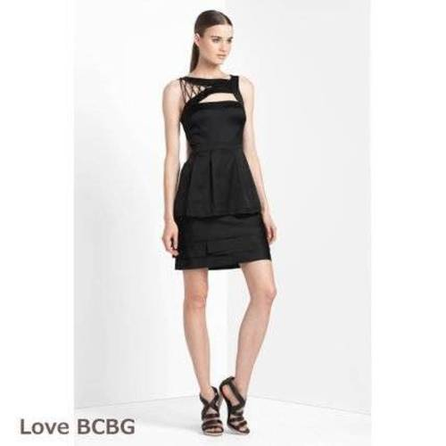 298 NWT BCBG MAXAZRIA SHOELACE PEPLUM DRESS 10 ORE6L550