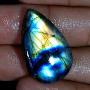 100-Natural-Purple-Fire-Spectrolite-Labradorite-Pear-Cabochon-Loose-Gemstone-J1