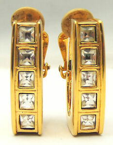 Vintage-Genuine-SWAROVSKI-Crystal-Earrings-Cilp-On-Squared-Hoops-Bold-Gold-Tone