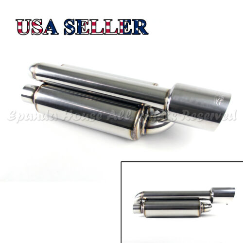 """FOR EURO CAR!1X TWIN LOOP CANISTER STYLE DEEP TONE SPORT EXHAUST MUFFLER 4/"""" TIP"""