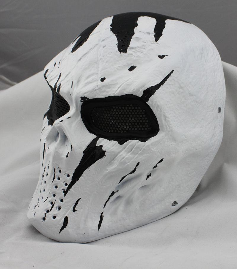 NEW Weiß Fiberglass Resin Mesh Eye Airsoft Paintball Full Protection Skull Mask