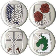 set of 4 Attack on Titan pins buttons badges shingeki no kyojin anime giant