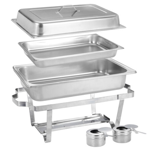 2 Packs 8 Quart Stainless Steel Rectangular Chafer Chafing Dish Buffet W//Warmer