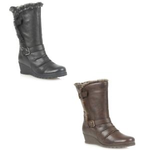 5b229b9b2383b Ladies Lotus Korinna Mid Calf Faux Fur Lined Quality Leather Wedge ...