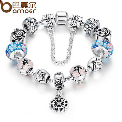 European 925 Silver Charms Bracelet DIY With Flower Bead Women Christmas Jewelry