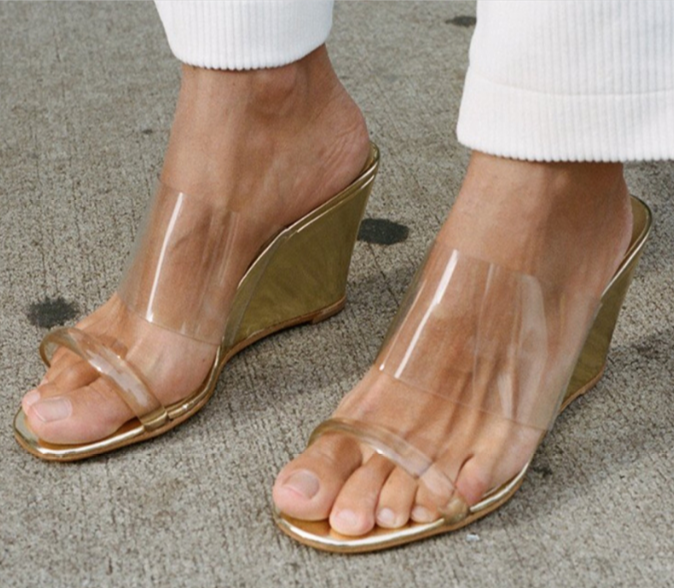 Women Clear High Heel Open Toe Slippers Wedge Platform Sandals Slip on shoes NEW