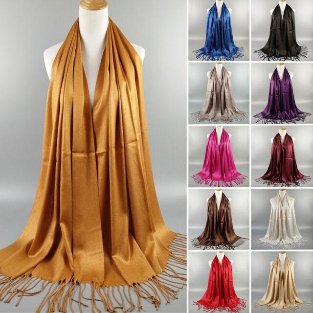 Women Muslim Wet Look Tassel Glitter Long Arabic Scarf Shawl Wrap Pashmina Stole