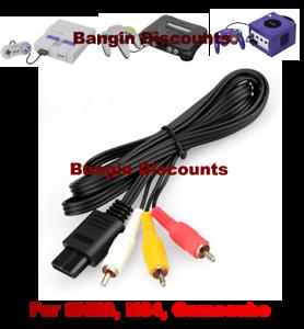 N64-6FT-RCA-AV-TV-Audio-Video-Stereo-Cable-Cord-For-Nintendo-64-Gamecube-SNES