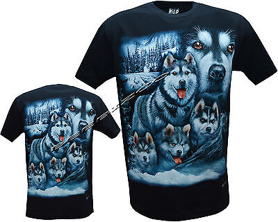 3XL Shirt,Front /& Back Print M New Husky Dog Puppy Puppies Dogs Cute T
