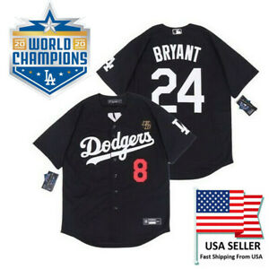 Details about Kobe Bryant Los Angles Dodgers Jersey #8 In Front & #24 In Back KB Patch Black