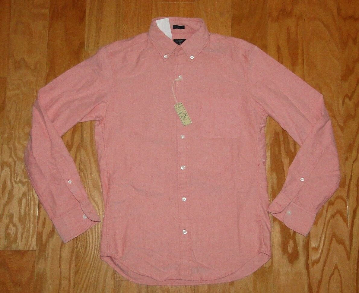 f4b85dc5f3b0a3 J Crew Button Down Collar Oxford Shirt NWT Top Size S orange Slim Fit