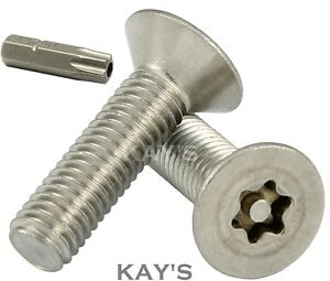 Qty 100 Countersunk Post Torx M5 x 8mm Stainless T25 Security Screw Tamperproof