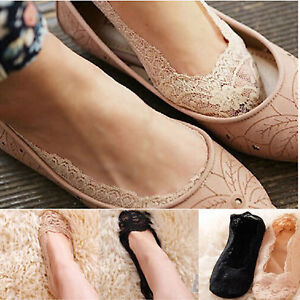 Women-Invisible-No-Show-Nonslip-Loafer-Lace-Boat-Liner-Low-Cut-Cotton-Socks-New