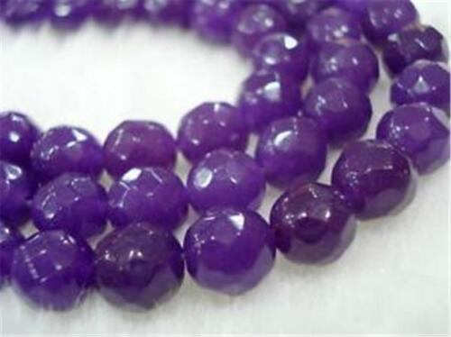"6mm//8mm//10mm Faceted Amethyst Round Natural Jade Gems Loose Beads 15/""AAA"