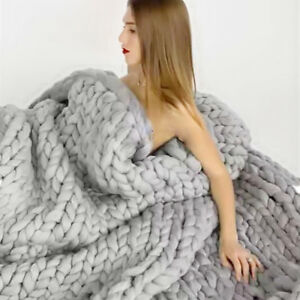 Image Is Loading Handmade Chunky Knitted Blanket Wool Thick Line Yarn