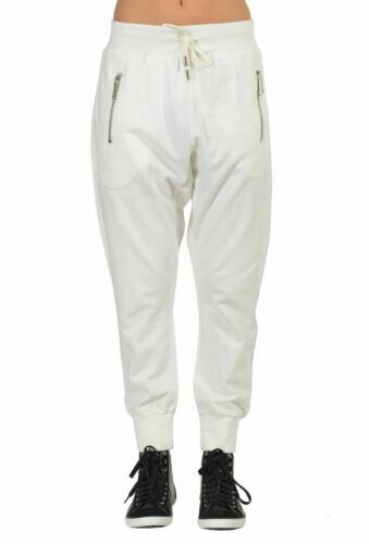 Dsquared2 White Cropped Draw String Waist Women/'s Harem Sweat Pants Size XS S