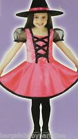 Pink Witch Dress & Hat Halloween Costume Dree Up Girls Large