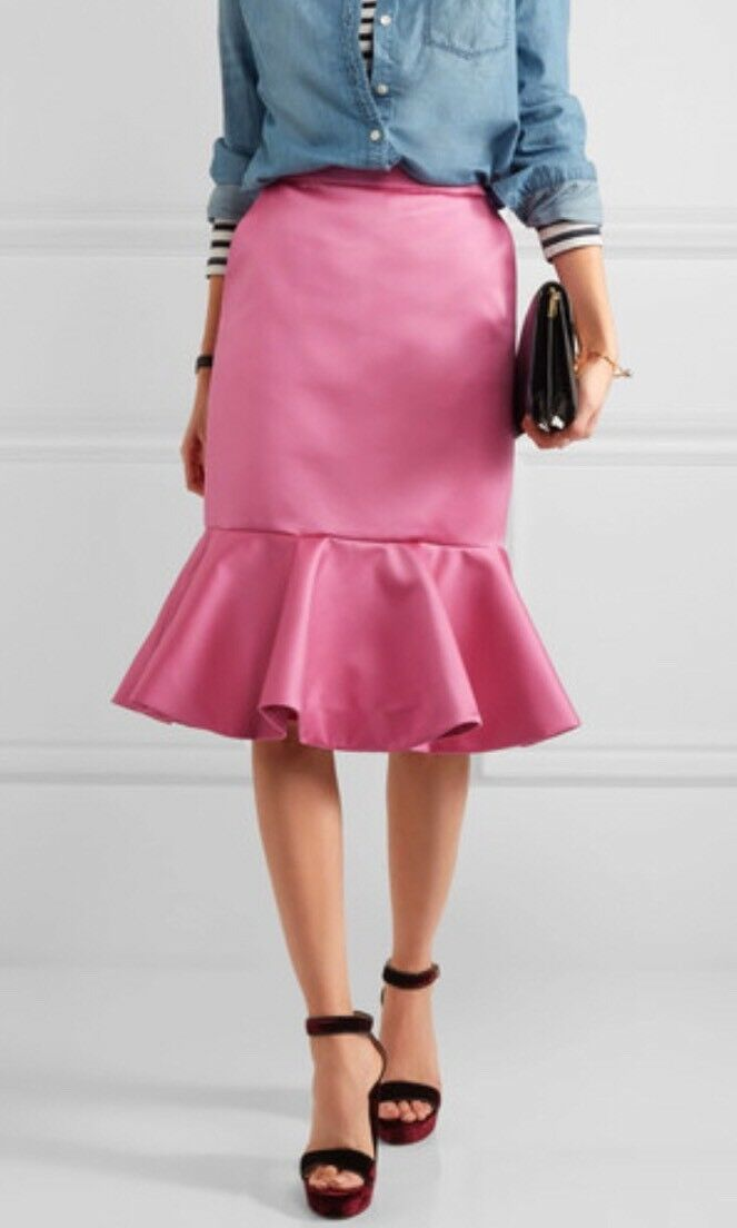 Nwt JCREW Collection Fluted Skirt In Italian Satin F6987 Sz 2 RARE