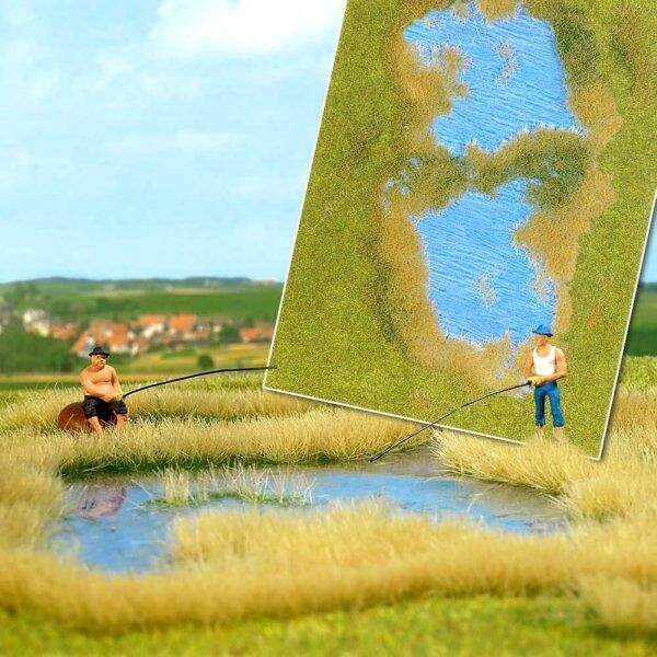 Busch 1312 Lake with Grass & Reed Shore Scenic Mat 297mm x 210mm 1st Class Post