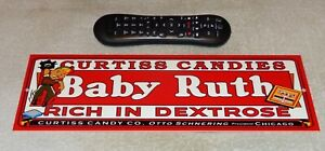 VINTAGE-034-CURTISS-CANDIES-BABY-RUTH-034-BASEBALL-PLAYER-15-034-METAL-CHOCOLATE-BAR-SIGN