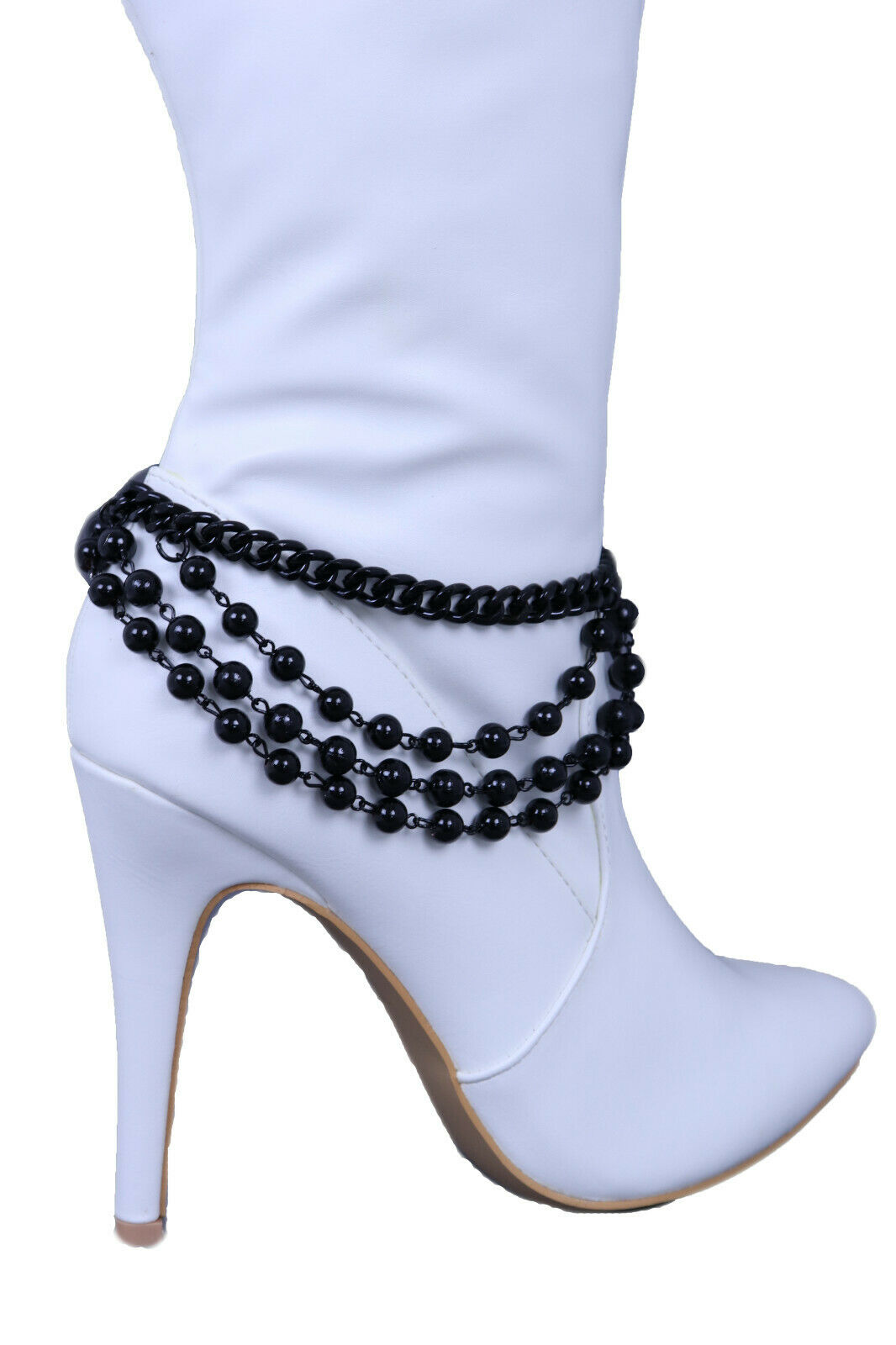Women Black Color Metal Chain Boot Bracelet Western Shoe Ball Charm Wrap Around