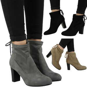 NEW WOMENS LADIES PULL ON TIE BACK MID BLOCK HEEL WORK ANKLE BOOTS