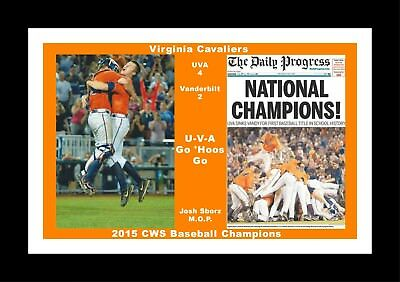 VIRGINIA CAVALIERS WINS 2015 BASEBALL CWS MATTED PIC OF DOGPILE CELEBRATION/&TEAM