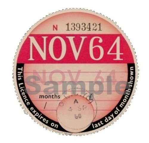 1964 TAX DISC PERSONALISED Classic car Vauxhall MGB Ford  Austin Triumph
