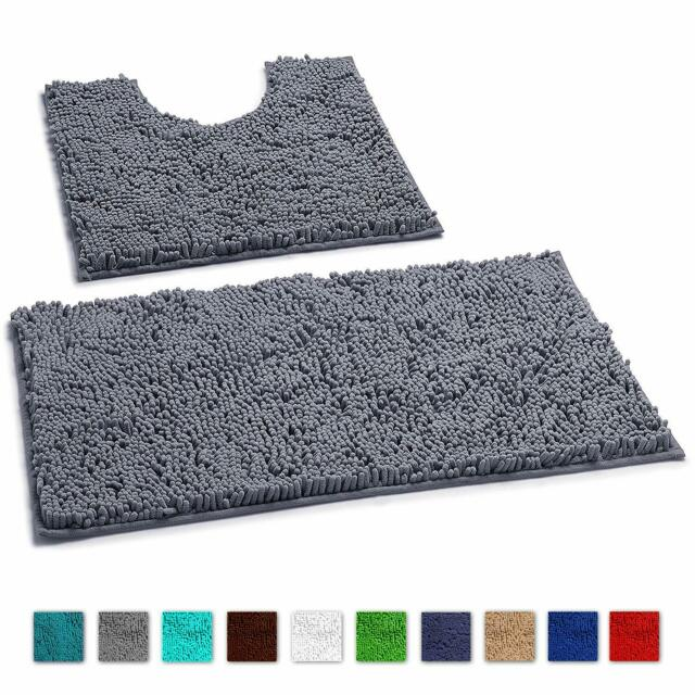 Microfiber Bathroom Contour Rugs Combo Set Of 2 Soft Shaggy Non Slip B Dark GRAY