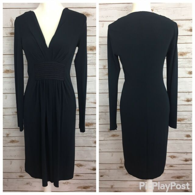 discount best service check out Alberta Ferretti Womens Size 6 Black V-Neck Long Sleeve Dress