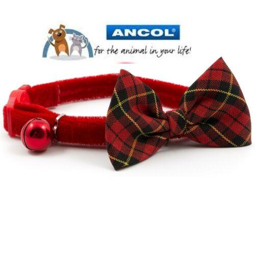 Ancol Gato//Gatito De Lujo collar con hebilla de seguridad de arco Vintage /& campana de advertencia